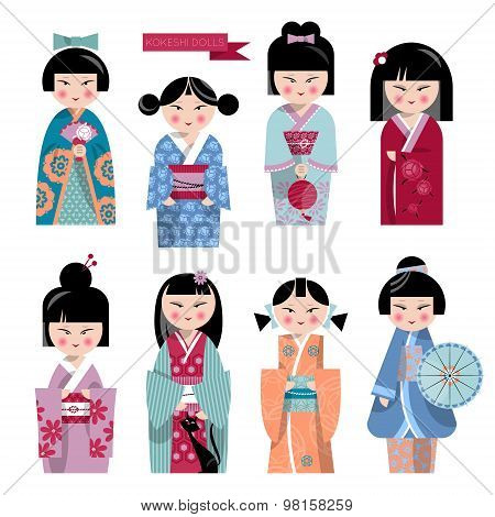 Traditional Japanese Doll. Kokeshi Dolls.