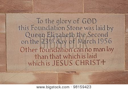 Cathedral foundation stone, Coventry.