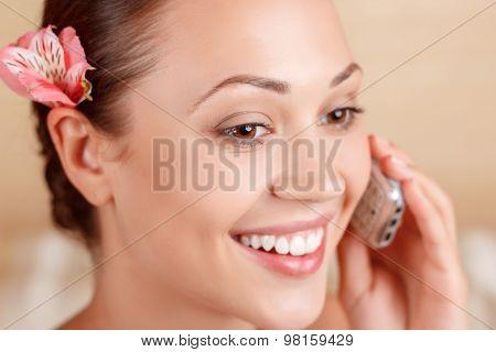 Nice woman talking on mobile phone