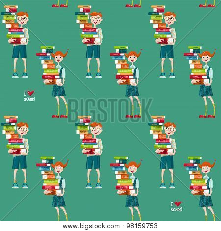 Boys And Girls With Stacks Of Books? I Love School. Seamless Background Pattern.