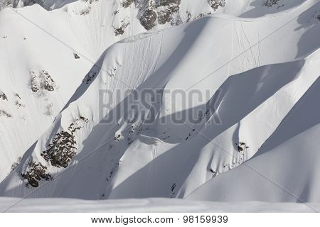 snowy winter mountain slope, Krasnaya Polyana, Russia