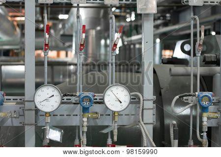 Manometers in the industrial boiler