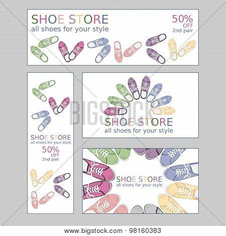 Set of two business card and two banners for shoestore