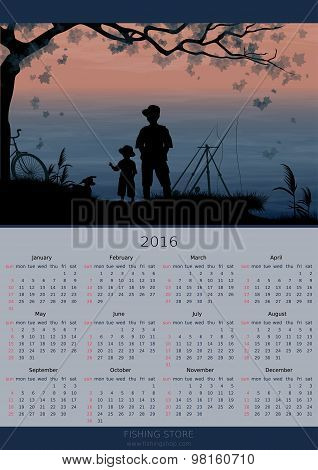 Calendar design 2016 year. Fishing