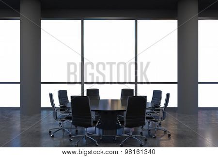 Panoramic Conference Room In Modern Office, Copy Space View From The Windows. Black Chairs And A Bla