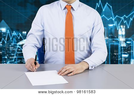 Businessman And Contract Signing Process. Financial Charts On The Background And Night Business City