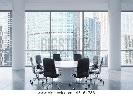 Panoramic Conference Room In Modern Office, Moscow International Business Center View. Black Chairs