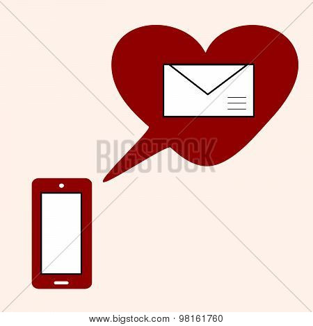 Love Gadget And Sms With Heart