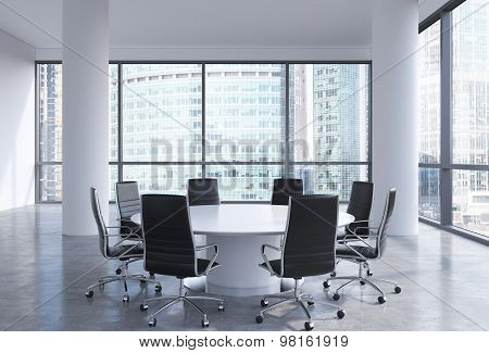 Panoramic Conference Room In Modern Office In Moscow Business Centre, So-called Moscow-city. White C