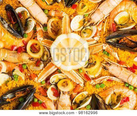 Seafood Paella,  Closeup Shot