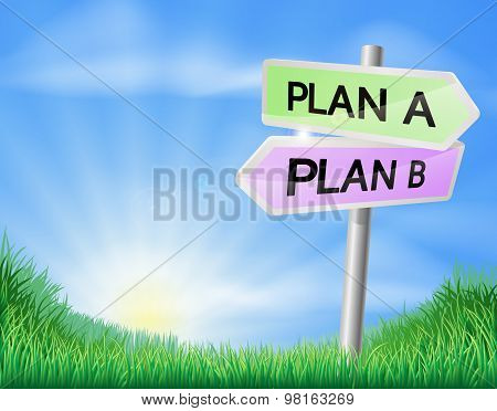 Plan A Or Plan B Decision Sign