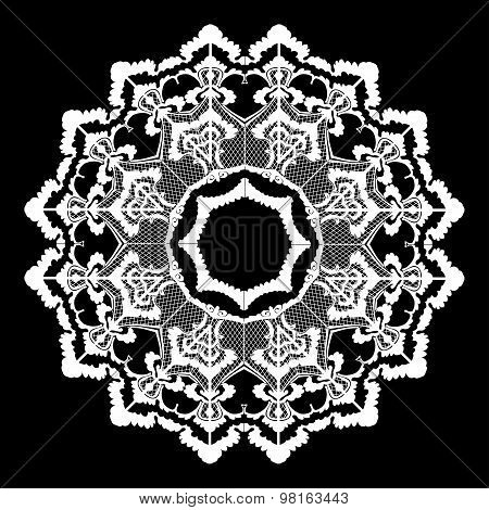 Vector round oriental flower vintage circle lacy on black background