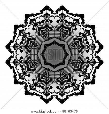 Vector round lace flower vintage circle background with many details looks like crocheting handmade