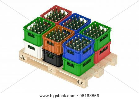 Drink Crates On The Wooden Pallet