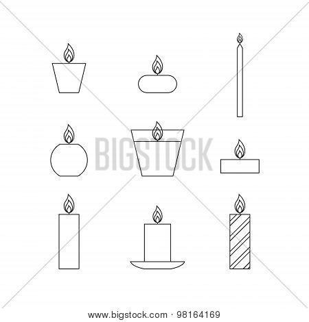 Flat Thin Line Icons Christmas Candles