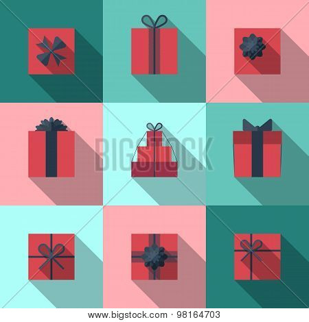 Flat Gift Box Icon With Long Shadow