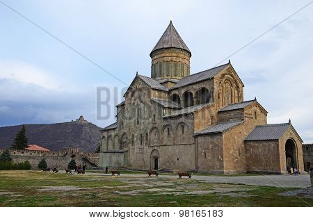 Tbilisi,GE-March,1 2015: Svetitskhoveli Cathedral in the town of Mtskheta-ancient capital of Georgia