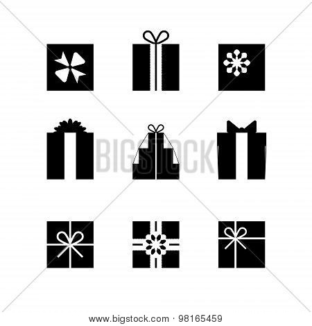 Silhouettes Of Gift Boxes Isolated