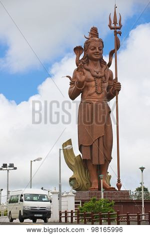Exterior of the giant 33-meters Lord Shiva statue at Ganga Talao Hindu temple, Mauritius.