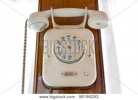 Very Old Rotary Phone In A Train