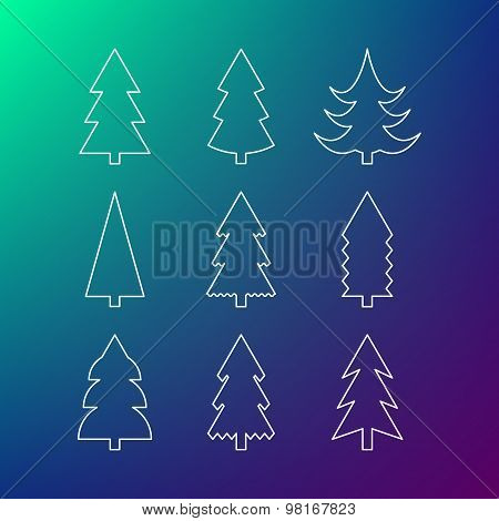 Thin Line Icon Set Of Christmas Trees