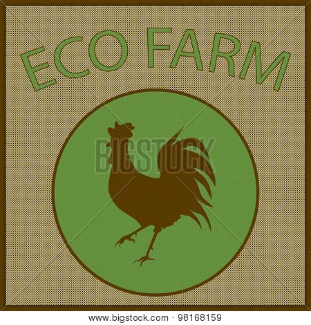 Vector Vintage Logo For Eco Farm With Cock Silhouette In The Green Circle