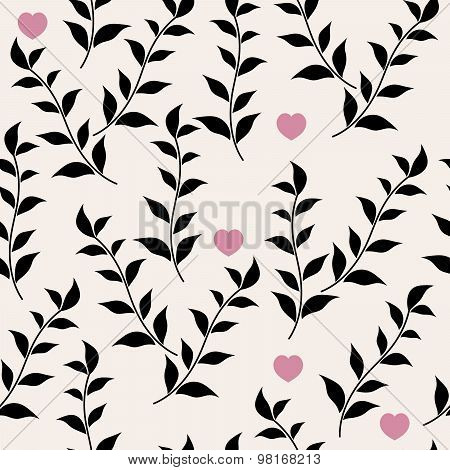 Black Leaves And Hearts. Vector Abstract Floral Seamless Pattern