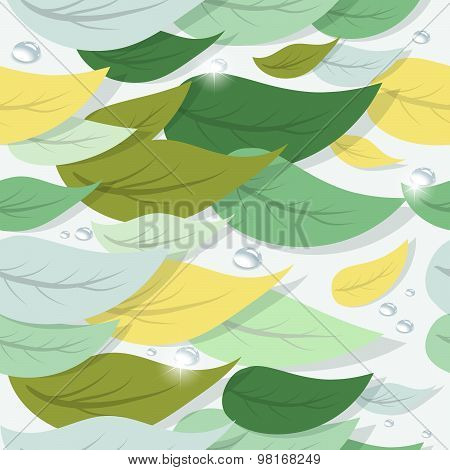 Colorful Tree Leaves And Water Drops. Vector Seamless Pattern