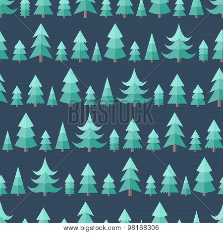 Flat Seamless Pattern With Cristmas Trees