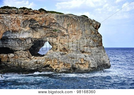 Marine Landscape With Rock Mountain Cliff And Sea Horizon In Ibiza Spain