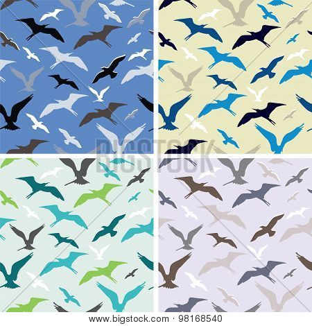 Vector Flying Birds. Abstract Seamless Pattern