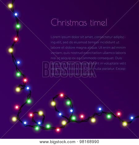 Christmas Template For Congratulation With Garland