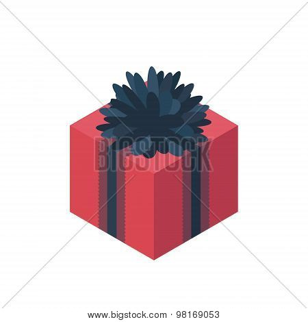 Flat Isometric Gift Box Icon