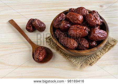 Dried Jujube Fruit On Wooden Table