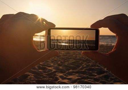 Taking Photo Of Sea Sunset With Phone - Point Of View