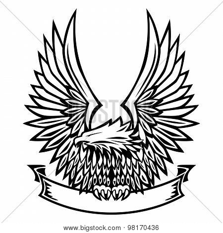 Eagle Emblem, Wings Spread, Holding Banner