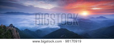 Fog and cloud mountain valley sunrise landscape