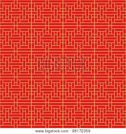 Golden seamless vintage Chinese style window tracery cross square line background.