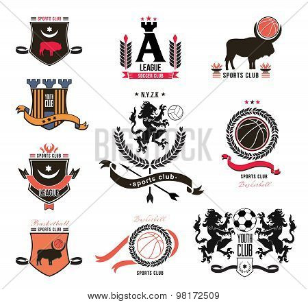Set of sports logos in the style of heraldry, emblems, design element.