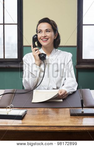 Smiling Receptionist At Work