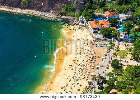 Aerial view of Botafogo beach in Rio de Janeiro, Brazil