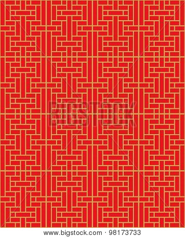 Golden seamless vintage Chinese style window tracery square line background.