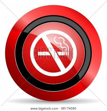 no smoking red glossy web icon