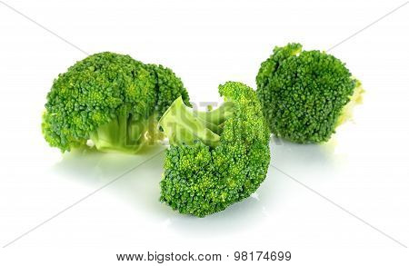 Fresh Broccoli Isolated On The White Background