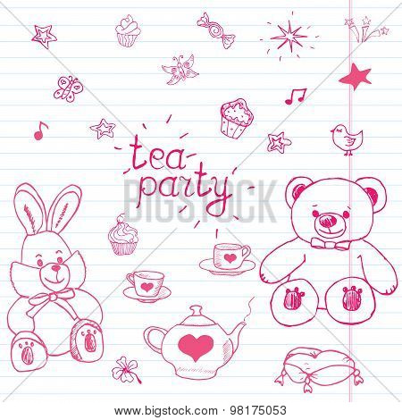 Hand Drawn Vector Illustration Set Of Tea Party With Stuffed Toys, Tea Pot, Cups, Pancakes, Sweets B