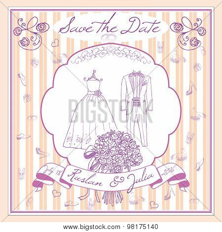 Save The Datecard Template With Hand Drawn Wedding Elements. Flowers Bride Dress And Tuxedo Suit, Gl