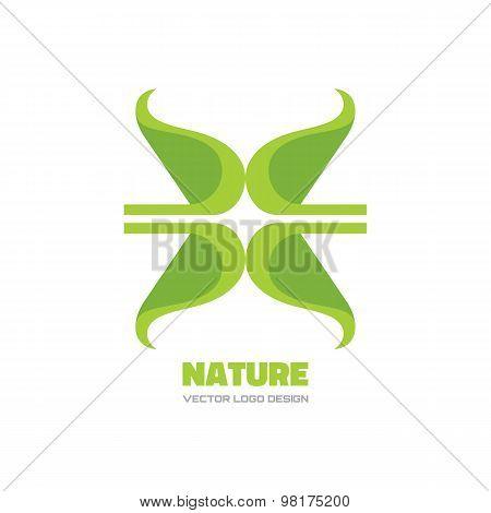 Nature - vector logo concept illustration. Ecology logo. Leafs logo. Bio logo. Organic logo.