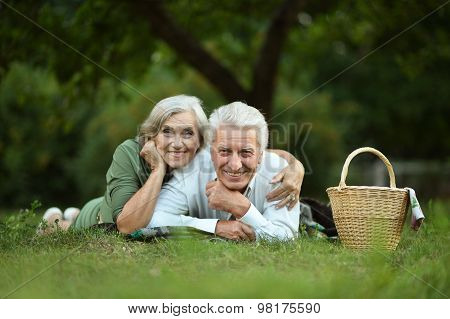Amusing old couple  in summer park
