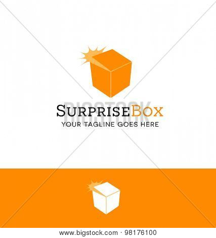 logo design of a surprise box opening