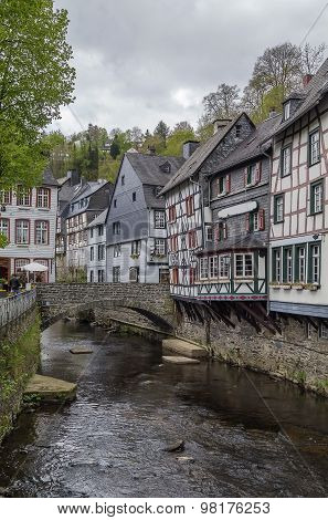 Houses Along The Rur River, Monschau, Germany